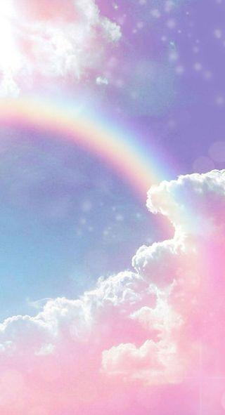 Обои на телефон фантазия, розовые, радуга, облака, небо, магия, галактика, волшебные, magical rainbow, galaxy