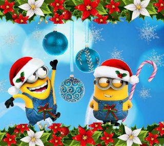 Обои на телефон счастливое, рождество, мультфильмы, миньоны, 2160x1920px