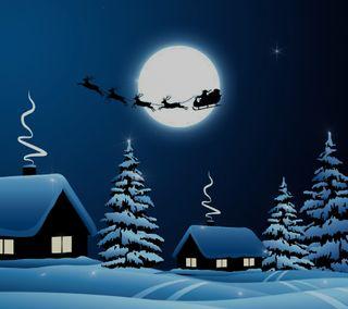 Обои на телефон праздник, рождество, ночь, christmas night 10