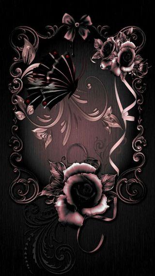 Обои на телефон готические, шаблон, черные, сердце, розы, розовые, бабочки