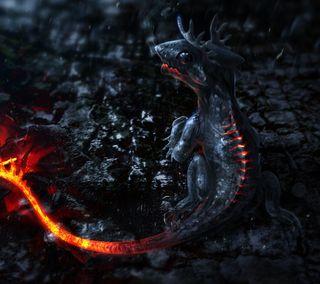Обои на телефон ящерица, магма, огонь, лава