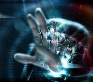 Обои на телефон яркие, изображения, трогать, технологии, рука, наука, красочные, кибер, hd, hand of technology, fingers, advanced, 3д, 3d