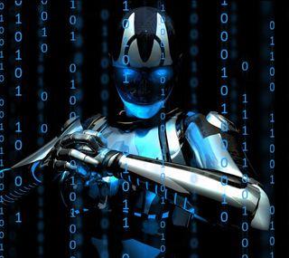 Обои на телефон код, технология, синие, робот