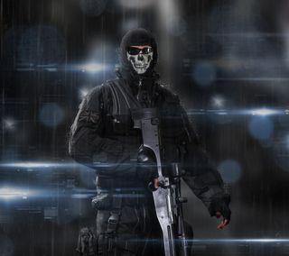 Обои на телефон снайпер, призрак, киллер, отношение, оружие, маска, игра, зло, боец, армия, cod ghosts, af