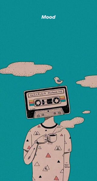 Обои на телефон настроение, стич, рисунки, птицы, облака, мир, высокий, арт, nostalgia, coffe, art