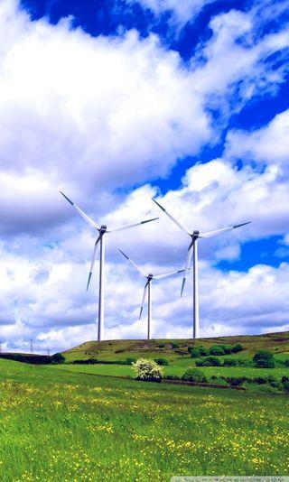 Обои на телефон природа, пейзаж, облака, небо, ветер, turbines