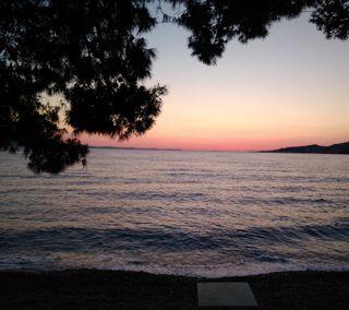 Обои на телефон дзен, спокойствие, море, мир, закат, деревья, sundusk, orangesky, omis, dalmatia