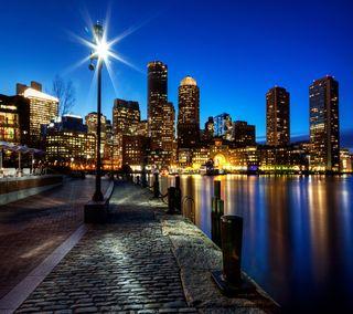 Обои на телефон ночь, бостон, boston night, 2160x1920