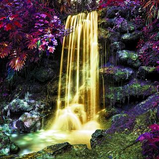 Обои на телефон водопад, золотые, вода, абстрактные