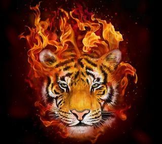 Обои на телефон картина, фон, тигр, рисунки, огонь, животные, гореть, абстрактные, tiger paint