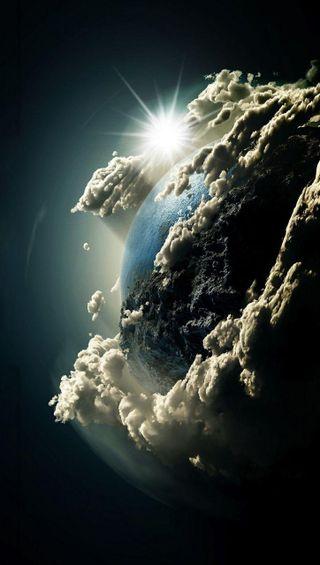 Обои на телефон планета, облака, земля