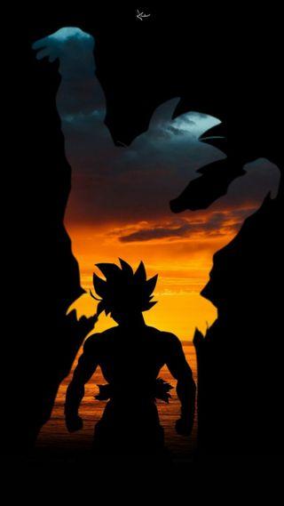 Обои на телефон черные, мяч, закат, дракон, гоку, son, genkidama, dragon