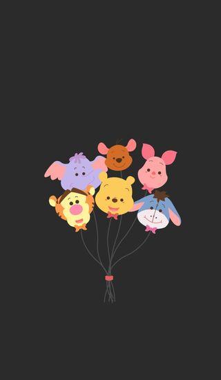 Обои на телефон пух, шары, тигр, милые, медведь, дисней, восхитительные, roo, pooh bear, piglet, eeyore, disney
