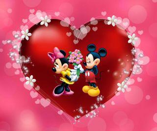 Обои на телефон минни, сердце, микки, маус, любовь, день, love, 960x800px