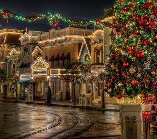 Обои на телефон город, рождество, путь, праздник, дорога, дисней, disney, christmas city