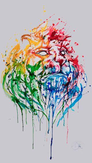 Обои на телефон лев, абстрактные, lion wallpaper