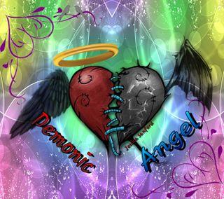 Обои на телефон черные, сердце, радуга, пузыри, крылья, ангел, halo, demonic