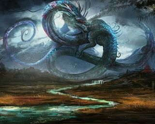 Обои на телефон рисунки, река, китай, дракон, город, dragons town, dragon