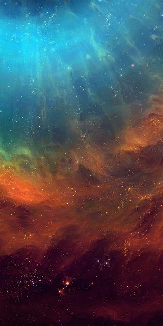 Обои на телефон красота, синие, оранжевые, красочные, космос, звезды, галактика, абстрактные, s8, s7, galaxy