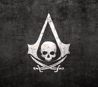 Обои на телефон черные, логотипы, череп, флаг, крид, ассасин, пираты