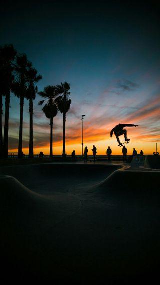 Обои на телефон скейт, пейзаж, закат, городской пейзаж, skater