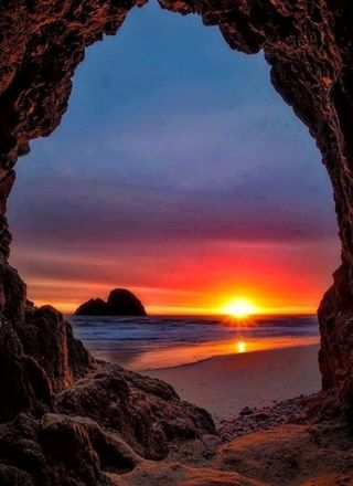 Обои на телефон пещера, океан, jama