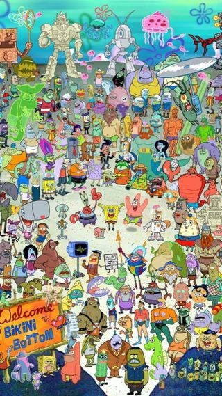 Обои на телефон all characters, cast, mr krabs, nickoledon, sandy, squarepants, squidward, мультфильмы, губка боб, патрик, символы, мистер
