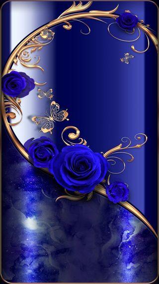 Обои на телефон цветы, фон, уникальные, супер, синие, розы, приятные, премиум, золотые, gold-blue flowers, 4k, hd