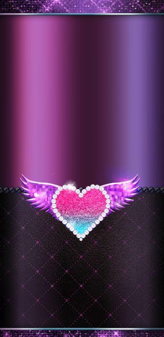 Обои на телефон фиолетовые, синие, симпатичные, сердце, сверкающие, розовые, прекрасные, крылья, жемчуг, блестящие, winged heart