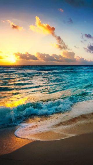 Обои на телефон солнце, пляж, песок, волны, вода