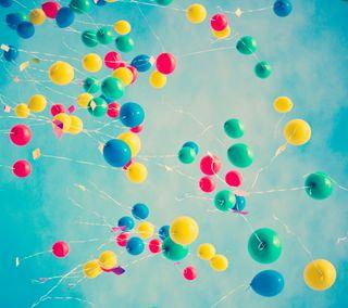 Обои на телефон шары, ретро, синие, природа, небо, винтаж, colorf