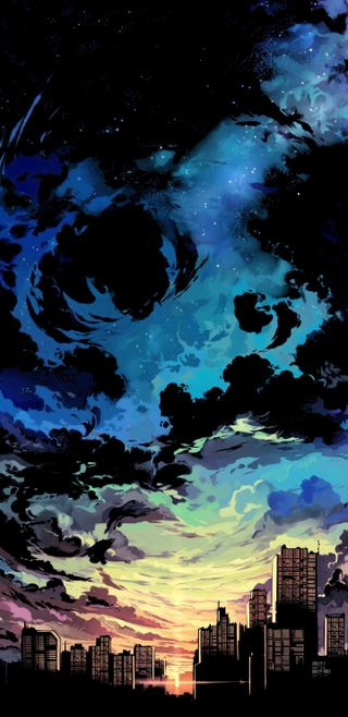 Обои на телефон облачно, черные, чернила, темные, синие, облака, небо, здания, дым, город, cloudy city