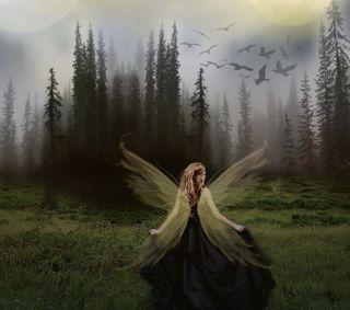 Обои на телефон ужасные, прогулка, темные, сказочные, птицы, лес, крылья, деревья, девушки, walk thru the woods