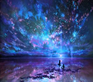 Обои на телефон тень, ты, солнце, пара, ночь, небо, любовь, луна, звезды, вселенная, stars and you, love