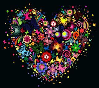 Обои на телефон цветочные, фон, сердце, векторные, абстрактные, multicolored, heart vector, floral heart, abstract floral