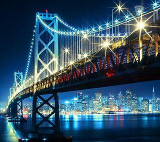 Обои на телефон сан, огни, неоновые, город, ночь, мост, залив, san fransisco bay, san fransisco