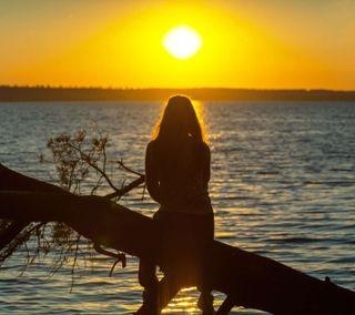 Обои на телефон восход, солнце, природа, озеро, люди, девушки