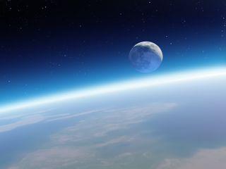 Обои на телефон природа, луна, космос, земля, горизонт, horizon hd