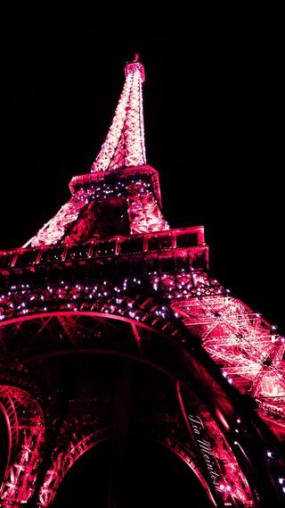 Обои на телефон эйфелева башня, розовые, ночь, башня