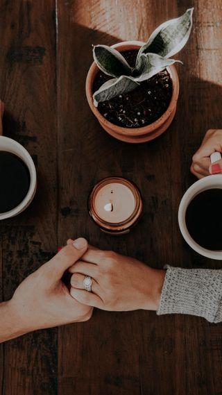 Обои на телефон руки, кофе, пара, любовь, кольцр, love