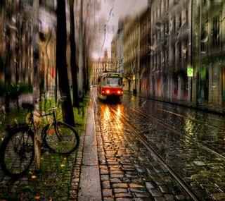Обои на телефон поезда, природа, осень, дождь, велосипед, autumn rain