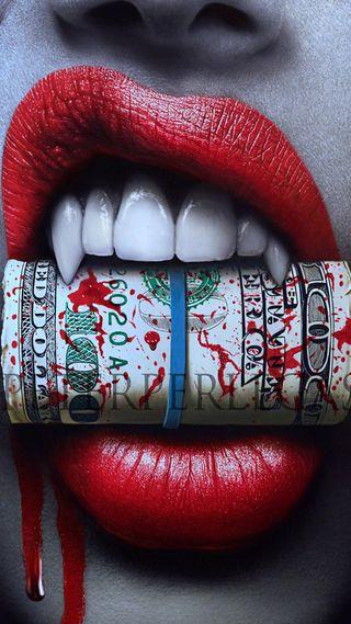 Обои на телефон рот, губы, красые, зубы, доллары, деньги, девушки, вампиры, bite