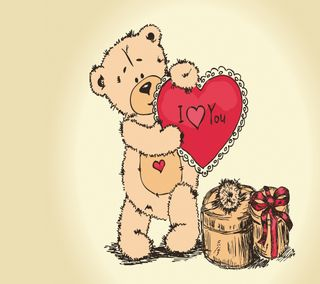 Обои на телефон медведь, ты, тедди, сердце, подарок, любовь, день, валентинка, i love you