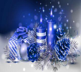 Обои на телефон синие, зима, праздник, рождество, свеча