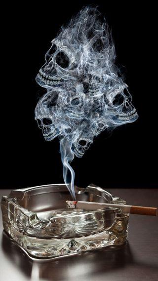 Обои на телефон экран блокировки, череп, сигареты, дым, горящий, burning-cigarette, ashtray