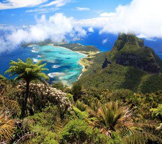 Обои на телефон остров, тропические, рай, океан, облака, море, горы