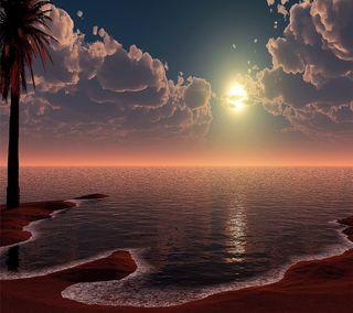 Обои на телефон солнце, песок, океан, море, закат, sandy sunset