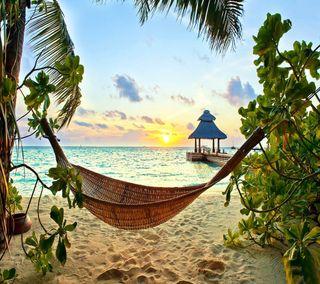 Обои на телефон хижина, рай, фон, природа, прекрасные, пляж, крутые, toripical
