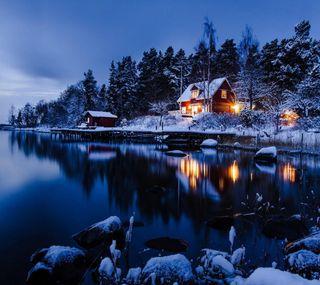 Обои на телефон холодное, река, снег, ночь, лес, зима, дом