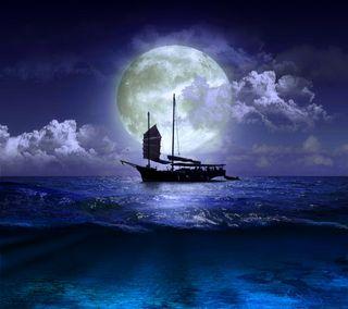 Обои на телефон лодки, природа, ночь, море, луна, вода